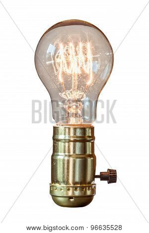 Decorative Retro Edison Style Filament Light Bulb With White Background.