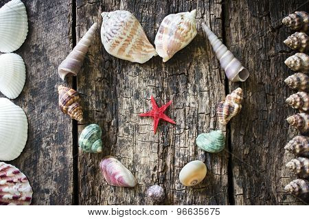 Heart Of Seashells, Shells, Shells, Starfish In A Frame Of Shells On The Wooden Table Selective Focu
