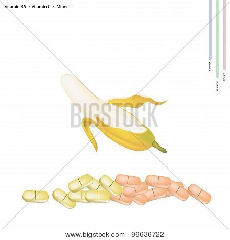 Ripe Banana with Vitamin B6 and Vitamin C