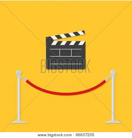 Red Rope Barrier Stanchions Turnstile Open Movie Clapper Board Template Icon. Flat Design Style.