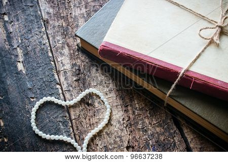Corded Book With Heart-shaped Beads