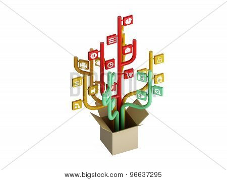The Tree Consisting Of The Icons On The Topic Of Social Media. Out Of The Box
