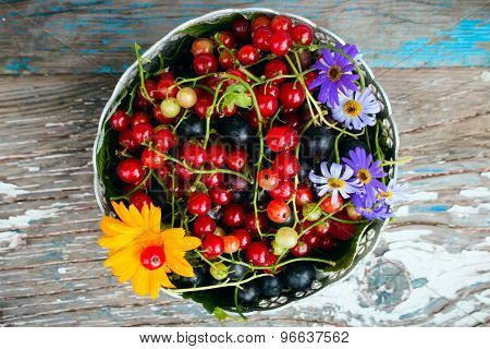 A Plate Of Leaves And Berries Of Black And Red Currant With A Flower On A Wooden Background Top View