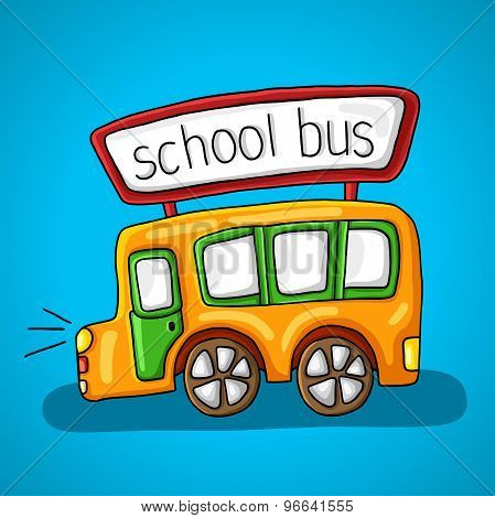 Yellow school bus. lights, windows, doors, wheels and a sign with the inscription on the roof of the