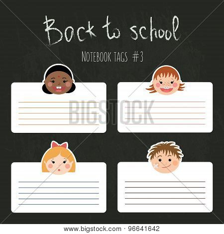 Vector Set Of Funny School Tags For Notebooks With Chlidren's Smiling Faces.