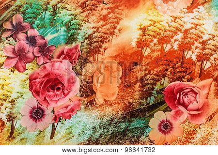 Texture Of Vintage Print Fabric Striped Flower And Forest