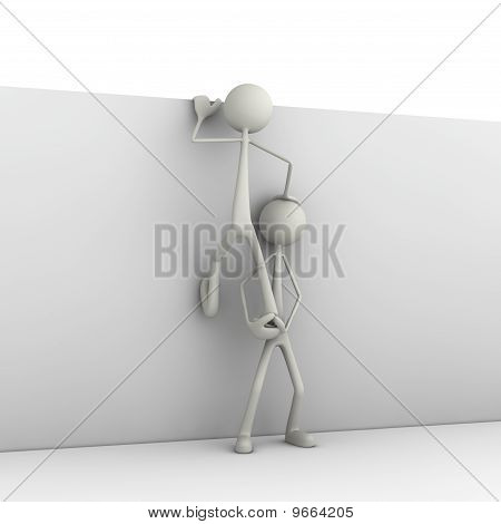 Figures climbing on wall