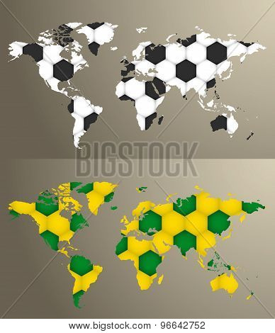 Vector World Map With Soccer Pattern..