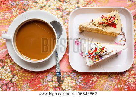 Hot Coffee And Cake For Break.