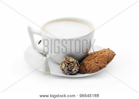 cup Of Coffee With Chocolate Candy, Cookies And Teaspoon