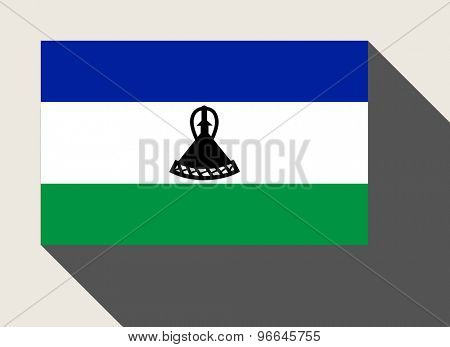 Lesotho flag in flat web design style.