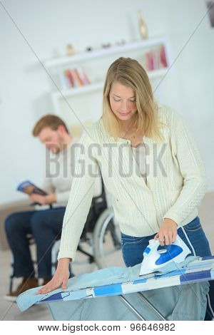 Woman doing some ironing