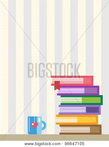 Books on desk. Back to school. Education objects, university, college symbols or knowledge, book. St