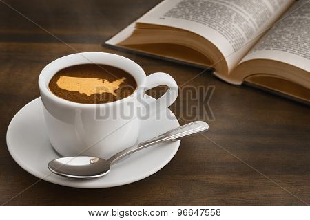 Still Life - Coffee With Map Of United States Of America