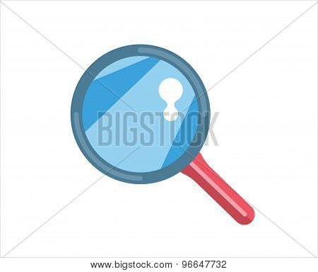 Flat loupe icon. Search, zoom or look, optic and optimization tool object. Stock design element