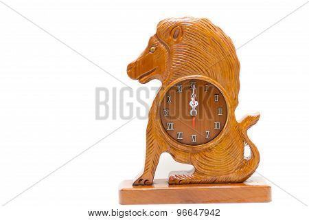 Antique Wooden Lion Isolated Over White