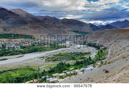 Indus River And Kargil City, Leh, Ladakh, Jammu & Kashmir, India