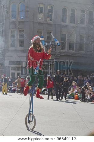 Misty Asheville Juggler In The Christmas Parade