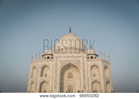 Close up view of Taj Mahal from East side. Post-processed with grain, texture and colour effect.