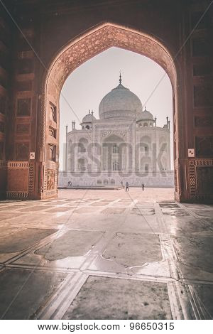 View of Taj Mahal from mosque. West side.