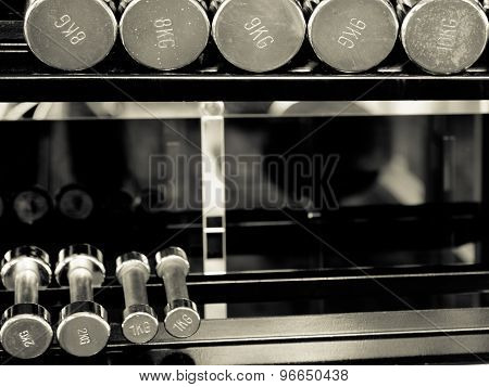 Row Of Dumbells In Fitness Black And White