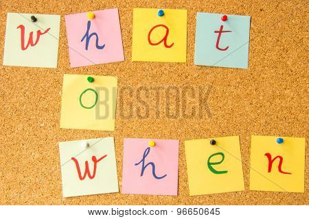 Cork board what how when written with pinned post it