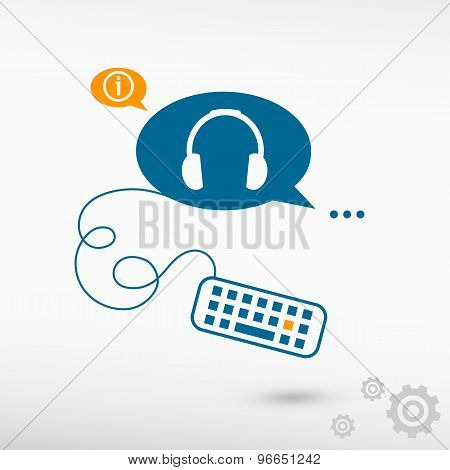 Headphone And Keyboard On Chat Speech Bubbles