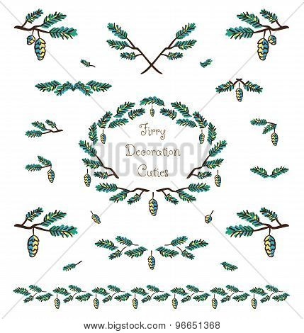 Vector Set Of Cute Pine Tree Twigs Decorative Elements