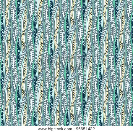 Vector Hand Drawn Abstract Seaweed Seamless Pattern.