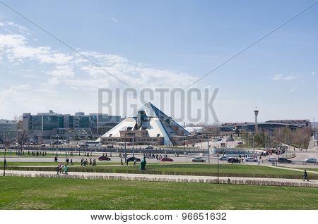 Pyramid Restaurant. View From The Kazan Kremlin. Kazan, Russia.