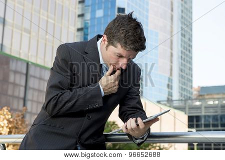 Businessman Holding Digital Tablet Standing Outdoors Working Outdoors Business District