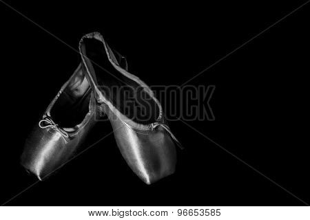 Closeup Ballet Shoe Black and White
