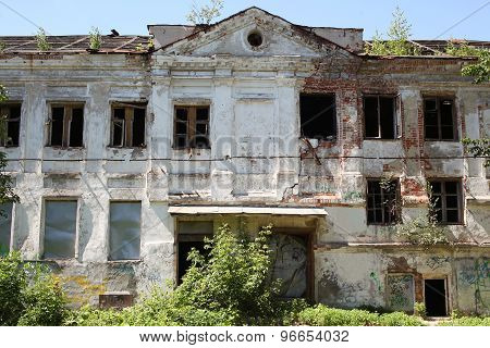 Big Old Brick Burnt Abandoned House With Windows, General View