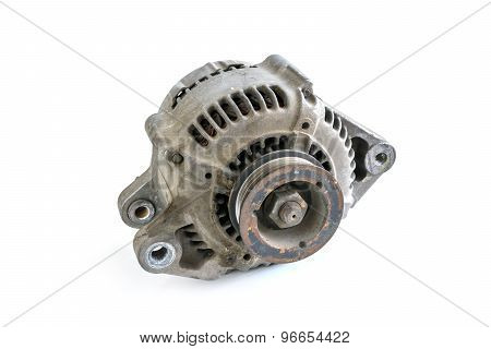 Old Used Generator Isolated On White Background