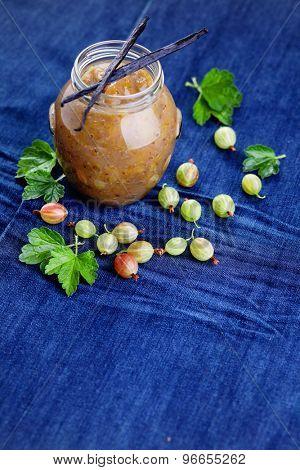 homemade gooseberry jam with vanilla - goods in jar