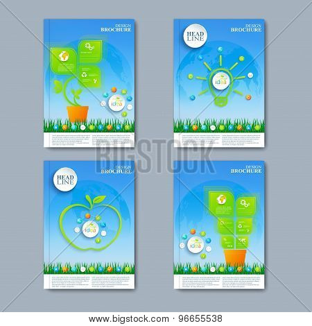 Modern vector set of brochures in the green infographics style for your design