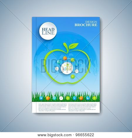 Modern template layout brochure, magazine, flyer, booklet, cover or report in A4 size for your desig