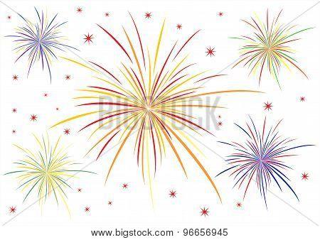 The vector illustration of fireworks on white background