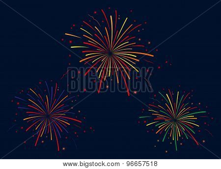 The vector illustration of fireworks on blue background