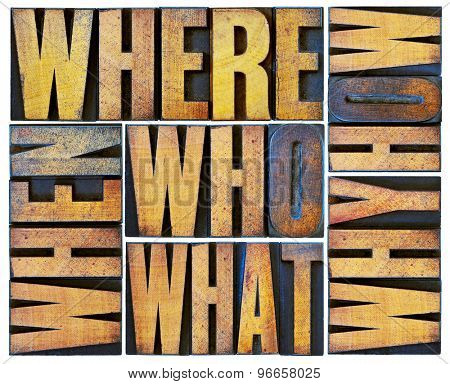 who, what, how, why, where, when, questions  - brainstorming or decision making concept - a collage of isolated words in vintage grunge letterpress wood type blocks