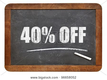 forty  percent off - discount sign - white chalk text on an isolated  vintage slate blackboard