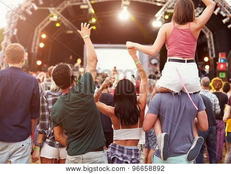 Friends having fun in the crowd at music festival, back view