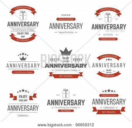 Vector set of anniversary signs, symbols.