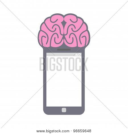 Smartphone. Smart Phone With Brain. Fantastic Concept Technology. Vector Illustration.