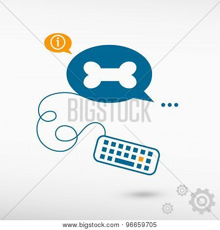 Dog Bone Sign Icon And Keyboard On Chat Speech Bubbles