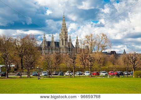 Part Of The Park Near Hofburg, Vienna City Hall,  Wiener Rathaus, Austria