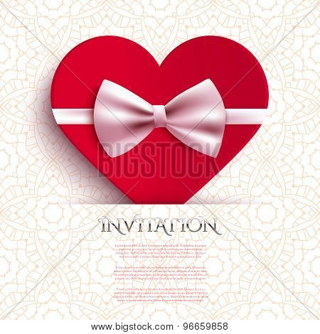 Invitation Card With Heart And Bow, Vector Illustration