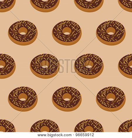 Chocolate Donuts Seamless Pattern. Desserts Food. Sweets Vector Ornament
