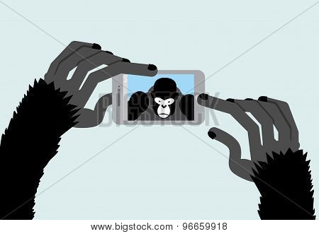 Selfie Monkey. Black Gorilla Photographs. Animal And A Smartphone. Vector Illustration