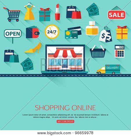 Online shopping concept background with place for text. Flat design. Collection of flat shopping ico